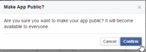 Click 'Confirm' to complete the creation of your Facebook App.