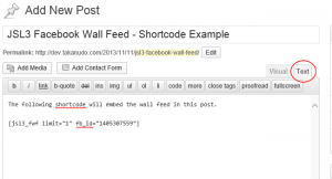 "Add the shortcode [jsl3_fwf] or [jsl3_fwf limit=""1""] or even [jsl3_fwf limit=""1"" fb_id=""1405307559""] to the 'Text' view of a post or page."