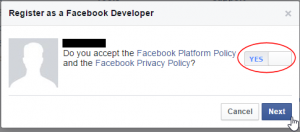 Toggle the button to 'Yes' to agree to the Facebook Policies and then click 'Next.'