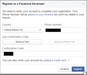 After you enter the confirmation code that Facebook sent to your phone, click 'Register.'