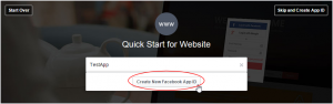 Click 'Create New Facebook App ID.'